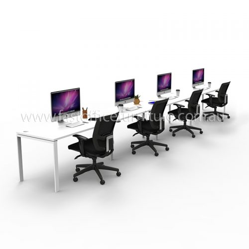 Integral Four In-Line Attached Desks