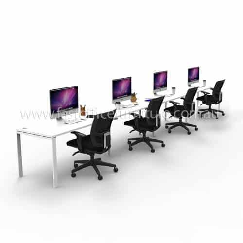 Integral Four In-Line Attached Desks