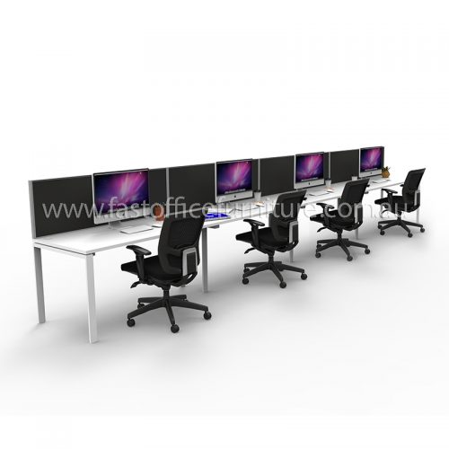 Integral Four In-Line Attached Desks with Four Screen Dividers