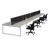 Integral Loop Leg Frame Eight Back To Back Desks with Four Screen Dividers