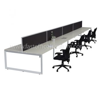Integral Loop Frame Eight Back To Back Desks with Four Screen Dividers