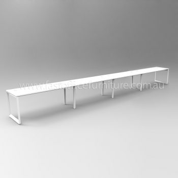 Integral Loop Frame Four Person In-Line Desk