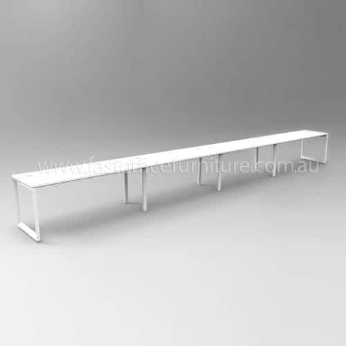 Integral Loop Leg Frame Four Person In-Line Desk