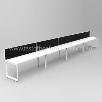 Integral Loop Frame Four Person In-Line Desk with Screen Dividers