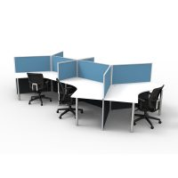 3D Example Six. 6 Way 120 Degree Workstation Desk Pod