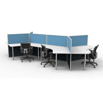 6 Way 120 Degree Workstation Desk Pod