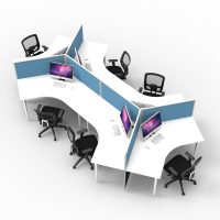 6 Way 120 Degree Workstation Desk Pod, Blue Screens