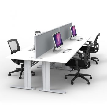 Express Space System 4 Way Desk Cluster, Grey Screen