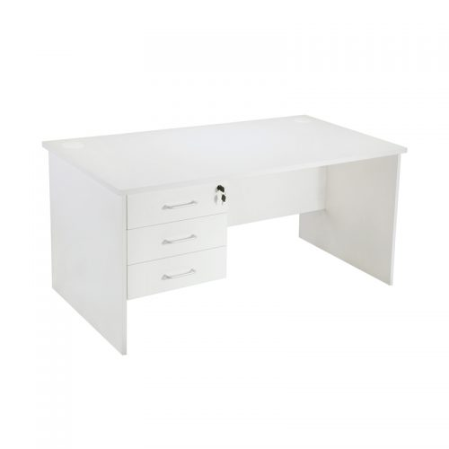Space System Squareline Desk with Fixed Drawer Unit