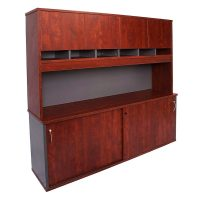 Executive Sliding Door Credenza and Hutch