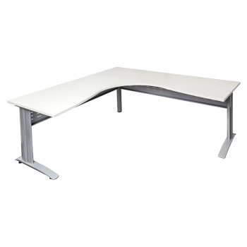 Space System Corner Workstation Parchment Top Silver Base