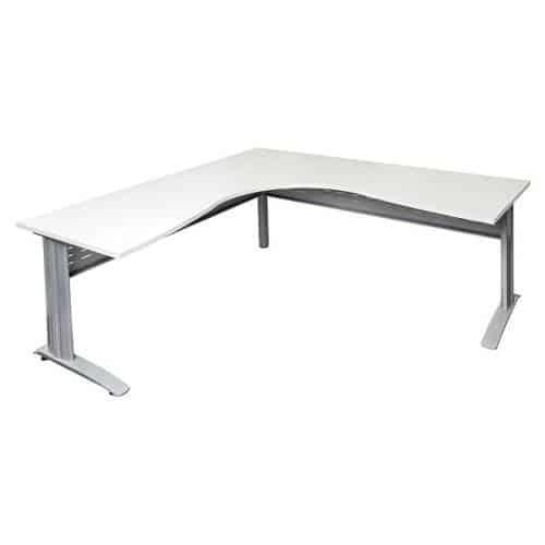 Space System Corner Workstation Natural White Desk Top Silver Base