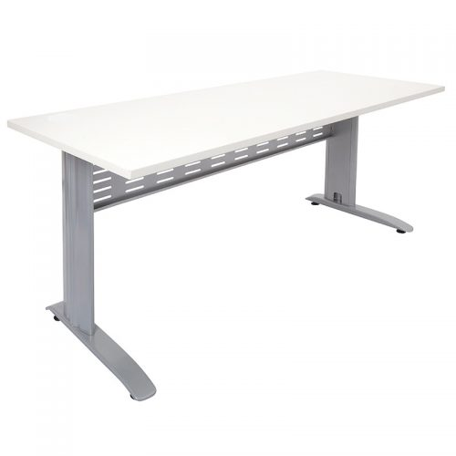 Space System Desk Natural White Top Silver Base