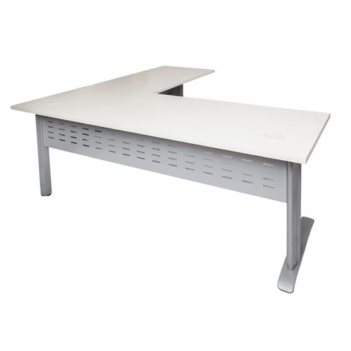 Space System Desk with Attached (Right Hand) Return, Natural White Desk Top, Silver Base