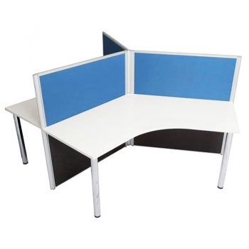 Space System Three Way Workstation Pod, Blue Screens
