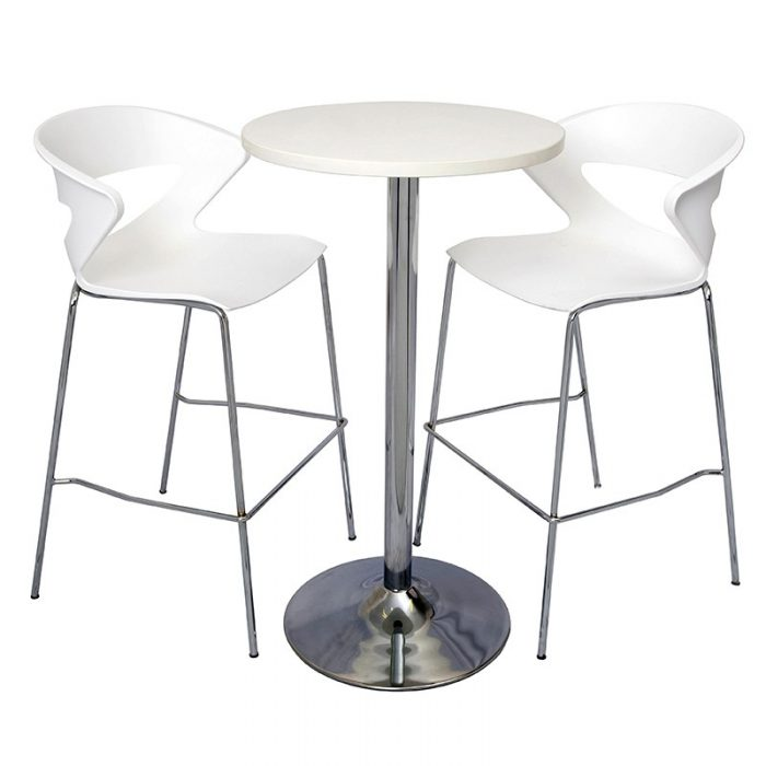 Stacey High Table and Angela Bar Stool Package. Natural White Table Top