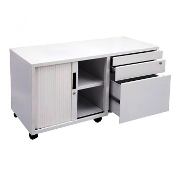 Super Strong Metal Mobile Storage Caddy. Image shows left hand tambour door, with right hand drawers