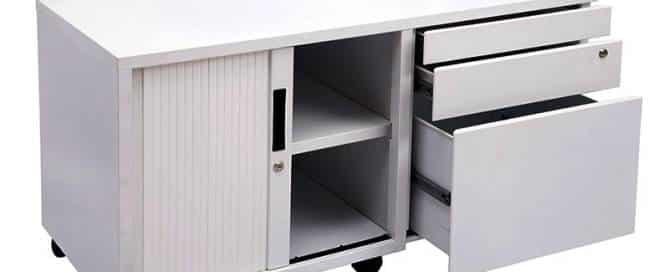 Super Strong Metal Mobile Storage Caddy. Image shows left hand tambour door