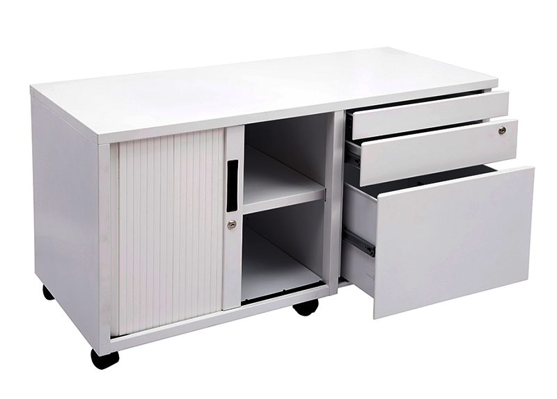 Super Strong Metal Mobile Storage Caddy. Image shows left hand tambour door