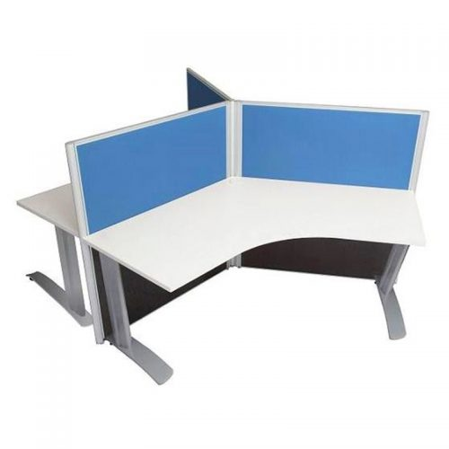 Space System 3 Way Workstation Pod with Space System Legs, Blue Screens