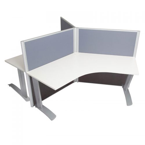 Space System 3 Way Workstation Pod with Space System Legs, Grey Screens