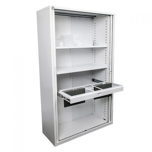 Tambour Door Cabinet with All Shelving Options