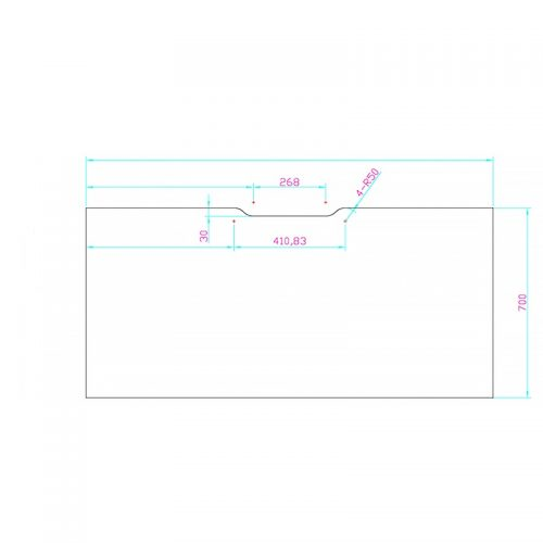 CAD Drawing Desk Top with Scalloped Edge