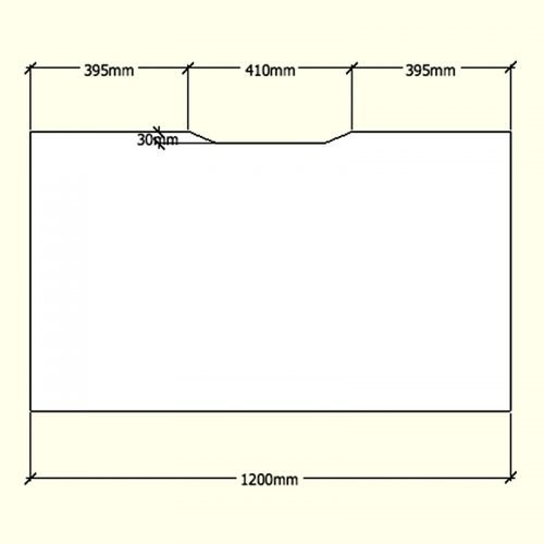 Straight Desk Top with Scalloped Edge, Dimensions - 1200mm x 700mm