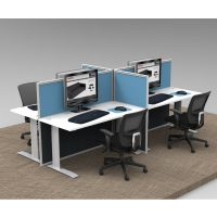 Space System 4 Straight Desk Pod, with 4 Blue Floor Standing Screen Dividers