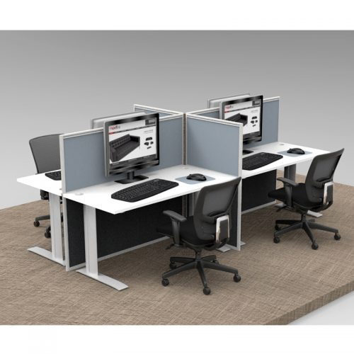 Space System 4 Straight Desk Pod, with 4 Grey Floor Standing Screen Dividers