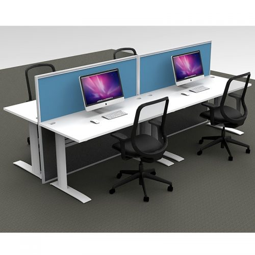 Space System 4 Straight Desk Pod, with 2 Blue Floor Standing Screen Dividers