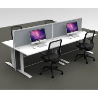 Space System 4 Straight Desk Pod, with 2 Grey Floor Standing Screen Dividers