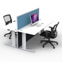 Space System 2-Way Straight Desk Pod with One Floor Standing Screen Divider, Blue Screen