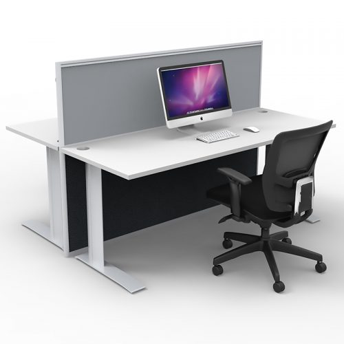 Space System 2-Way Straight Desk Pod with One Floor Standing Screen Divider, Grey Screen, Image 1