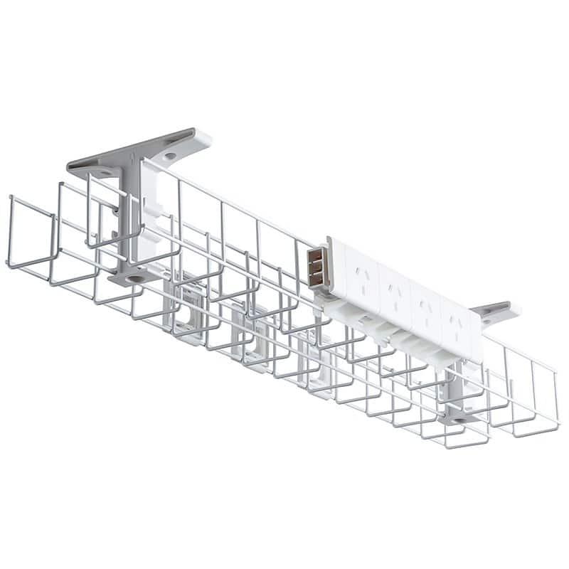 single tier back to back under desk cable basket
