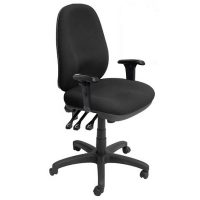 Coochie High Back Chair, Black Fabric with Arms