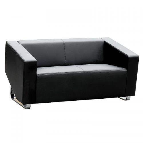Dee 2 Seater Lounge, Black Leather