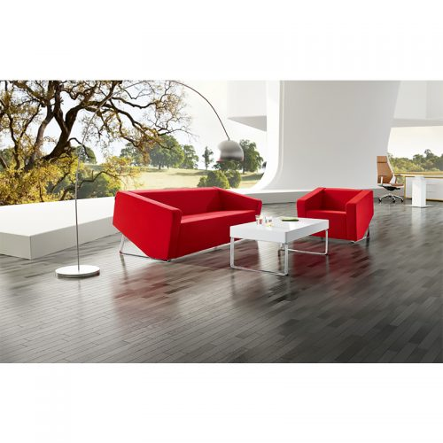 Dee Chair and 2 Seater Lounge, Red Leather