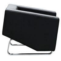 Dee Lounge Chair, Black Leather, Side View