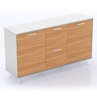 Director Executive Credenza, Virginia Walnut and White