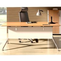 Director Executive Desk, Virginia Walnut with White Modesty Panel