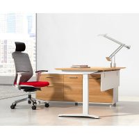 Director Executive Electric Height Adjustable Desk with Left Hand Attached Storage Cupboard. Virginia Walnut and White