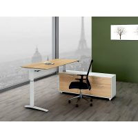 Director Executive Electric Height Adjustable Desk with Right Hand Attached Storage Cupboard. Virginia Walnut and White