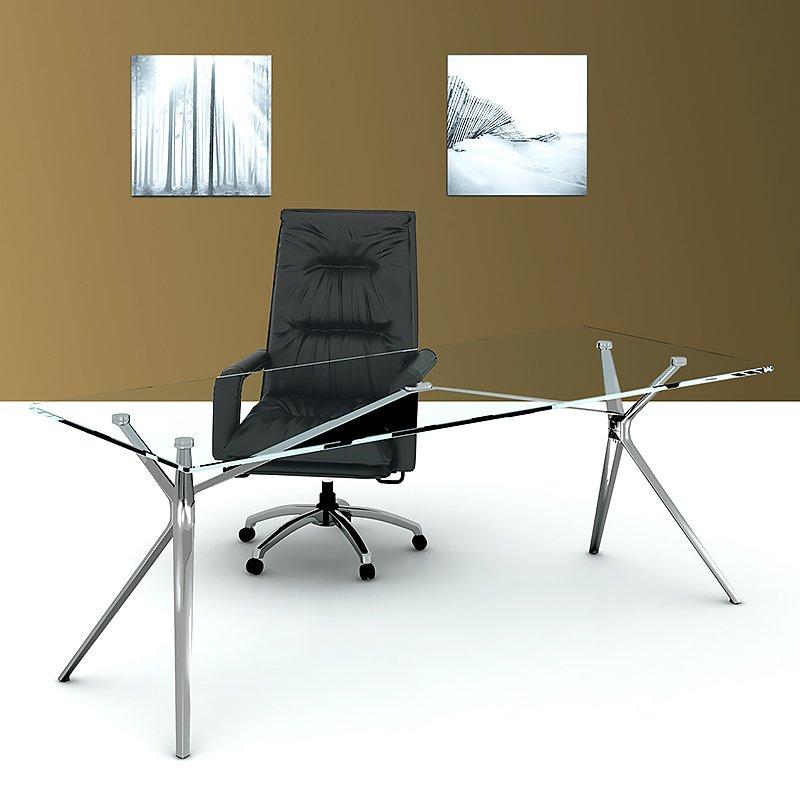 Forza Glass Top Desk