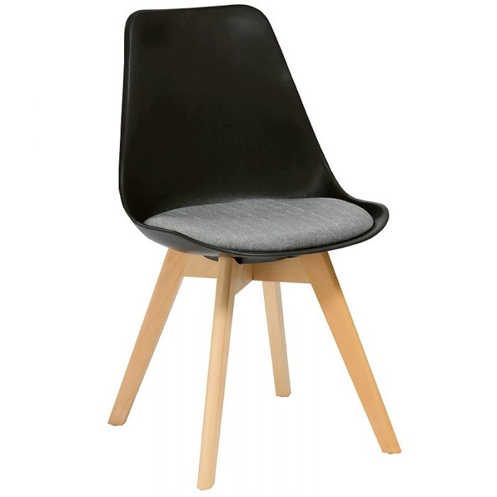 Deakin Chair, Black Shell with Grey Upholstered Seat Pad