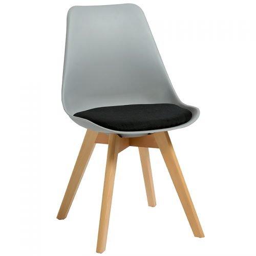 Deakin Chair, Grey Shell with Black Upholstered Seat Pad
