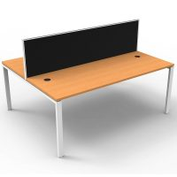 Integral 2 Back to Back Desks, Beech Tops with Screen Dividers