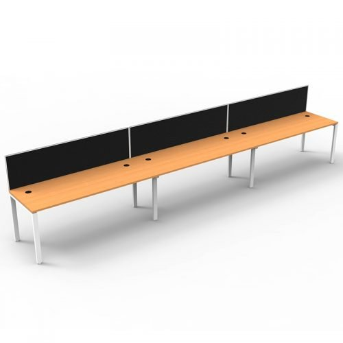 Integral 3 Inline Desks, Beech Top with Screen Dividers