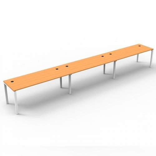 Integral 3 Inline Desks, Beech Tops, No Screen Dividers