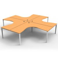 Integral 4 Way Corner Workstation, Beech Tops, No Screen Dividers